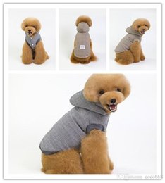 Wholesale korean designer jackets for sale – winter Dog clothes dog hoodies pet clothes for dogs coat jackets cotton pet supplies autumn and winter of Korean version of the lattice two legged