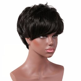 synthetic hair wholesalers NZ - 2019 Euro-American Hot sales black color short wavy fringe wigs synthetic hair curly natural for women