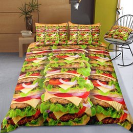 cartoon hamburger NZ - Hamburger Food Printed Adult Bedding Set King Fashion Duvet Cover Queen Home Textile Single Double Bed Set With Pillowcase 3pcs