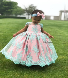 little girls bows Australia - Fabulous Little Girls Birthday Dress with Big Bow Blue Appliques Cap Sleeves Flower Girl Dress For Special Occasion Custom Made