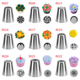 CupCake piping tips online shopping - 27 style Russian Tulip Icing Piping Nozzles Stainless Steel Flower Cream Pastry Tips Nozzles Cupcake Cake Decorating