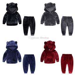 Baby Winter Bear Suits NZ - Baby girls boys Gold velvet outfits children Bear ear Hooded top+pants 2pcs set Autumn Winter suit Boutique kids Clothing Sets C5589