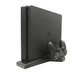 port mount Australia - New PS4 Vertical Stand with Dual Wireless Controller Charging Dock Mount 2 Cooling Fans 3 USB Ports Hub for Playstation 4 Sllim