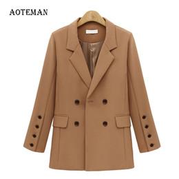 $enCountryForm.capitalKeyWord Australia - FLULU Autumn Winter Suit Blazer Women 2018 New Casual Double Breasted Pocket Women Jackets Elegant Long Sleeve Blazer Outerwear T5190612
