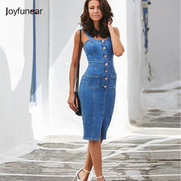 9158474541f Backless Bodycon Midi Dress Women Summer Vestidos 2019 New Pocket Button Jeans  Dress Sexy Split Ladies Denim Dresses