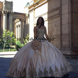 Sweethearts Ball Australia - Sweety Sweetheart Ball Gown Quinceanera Dresses Champagne Appliques Beaded Satin Plus Size Sweet 16 Dresses Sexy Backless Lace Up Prom Dress