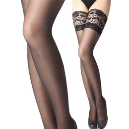 cce38025b JCAAAP 1 Pair Women Underwear Leggings Lace Top Sheer Stay Up Thigh High Stockings  Pantyhose Solid Sexy Lingerie