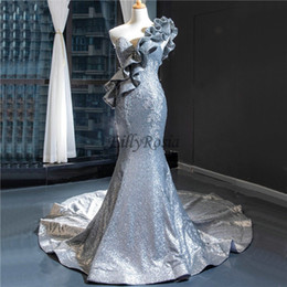 lace dinner dress Australia - Mermaid Silver Evening Dresses One Shoulder Ruched Sequined Lace Appliques Elegant Women Evening Dinner Gowns Formal Celebrity Ceremony