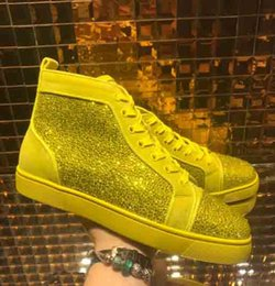 Spring autum online shopping - With Rhinestone Mens Women Casual Shoes Unisex Luxury Red Bottom Multi Color High top Flats Sneaker Fashion Designer Summer Autum shoes