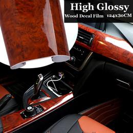 Furniture Film online shopping - 30x124cm PVC Wood Grain Textured Car Interior Stickers Waterproof Vinyl Wrap Film Decals Car Styling Accessories Furniture Decor