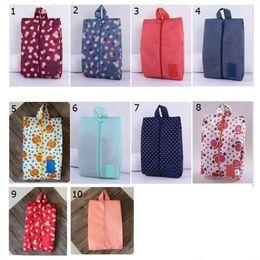 Nylon Pouches Zippers Australia - Portable Waterproof Travel Shoe Bag Nylon Storage Bag Pouch Convenient Storage Organizer Shoes Sorting Zipper Tote 10 Patterns