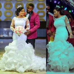 $enCountryForm.capitalKeyWord Australia - 2019 Luxury African Mermaid Wedding Dresses Scoop Lace Appliques Beaded Sequins Long Sleeves Ruffles Tiered Organza Plus Size Bridal Gowns