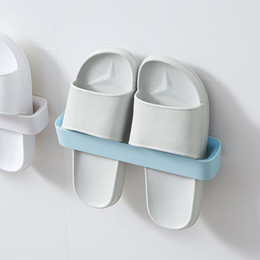 plastics home slippers NZ - Plastic Wall Hanging Slippers Shoes Rack Home Slippers Towel Hanger Pure Color Self Adhesive Storage Organizer 2Pcs lot