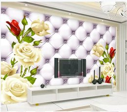 White 3d Rose Fabric Australia - 3d wall murals wallpaper White rose leather soft pack TV background wall
