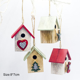 $enCountryForm.capitalKeyWord Australia - Colorful Painting Wood House Christmas Tree Decor Hanging Xmas Ornament for 2020 New Year Festive Party decorations