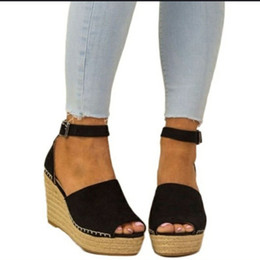 SandalS thick bottomS online shopping - Wedge sandal woman sandal thick bottom heighten shoe ma boximiya national clan style summer vogue relaxed sandal US5 US11
