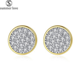 white gold disc charm Australia - Fashion White Cubic Zirconia Stud Earrings for Women Silver Gold Color CZ Mini Disc Hoop Earrings As Valentine's Day Charm Jewelry-Z