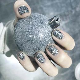 $enCountryForm.capitalKeyWord Australia - 24PCS Shiny Silver Nail Glitter Sequin Colorful Party Fake Nail Girl Short Size False Summer Beauty DIY Art Decoration