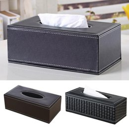 plastic napkins holders Canada - Home PU Leather Large Anti-moisture Rectangular Tissue Paper napkin Box case Household Office Holder 24x13x9.5cm