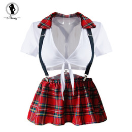 erotic cosplay full Canada - ALINRY Sexy Lingerie Set Women Erotic Cosplay School Girl Costume Plaid Student Uniform Tops+Skirt Role Play Lenceria Underwear