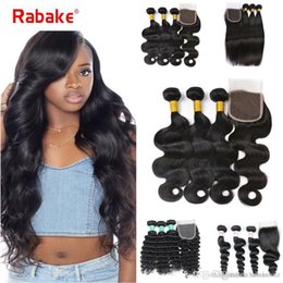 brazilian loose wave curly closure Australia - 8A Brazilian Straight Virgin Hair 4 Bundles Rabake Human Hair Weave Peruvian Body Wave Loose 3 Deep Curly Bundles with 4*4 Weaves Closure