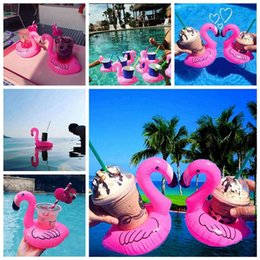inflatable pools sale Australia - Inflatable Flamingo Drinks Cup Holder Pool Floats Bar Coasters Floatation Devices Children Bath Toy small size Hot Sale 1200pcs H0528