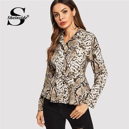 b7050555b1ec Sheinside Snake Print Peplum Top Women Long Sleeve Blouse Shirt Fashion  Autumn Womens Clothing Office Ladies Blouses & Shirts