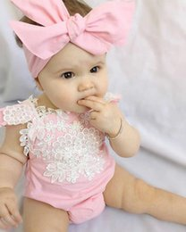Pink Body Suits Australia - Lace Sleeveless Baby Girl Romper Newborn Baby Girls Pink Lace Floral Romper Backless Jumpsuit Body suit With headband Set