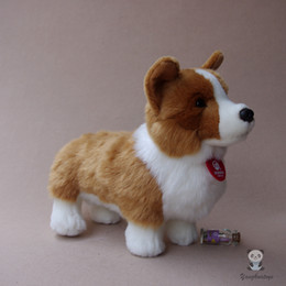 real good toys UK - Soft Cute Real Life Plush Toys Standing Corgi Dog Doll Good Quality Stuffed Animal Toy Children Bidrthday Gifts