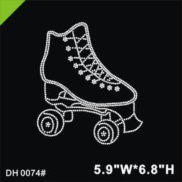 $enCountryForm.capitalKeyWord Australia - Free shipping Rhinestone Transfer iron on design small quantity shoes for skating in white crystal DIY DH0074#