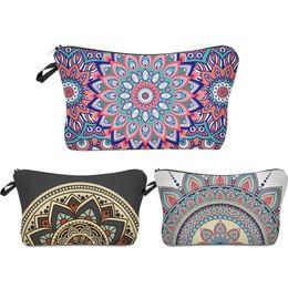 $enCountryForm.capitalKeyWord Australia - Roomy Cosmetic Bag,3 Piece Set Waterproof Travel Toiletry Pouch Makeup With Zipper (Mandala Flowers)