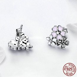 Discount pandora earrings Cute Pink Enamel flower 925 Sterling Silver Stud Earring for Women fit Pandora Real Silver Jewelry Earrings Lady Birthda
