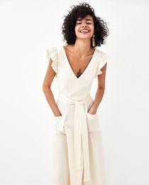 Down Korean Dresses Australia - Elegant Ruffless White Linen Dress Women Sleeveless Backless Bow Midi Dress Summer Pocket Casual Dress 2018 Korean Beach Vestido Y19051001