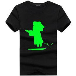 Music Man T Shirt Australia - 100% Cotton Chilrens Men's Summer Gree Fluorescent Music Man Short T-Shirt Luminous In Dark T-shirts Male Wolf Tshirt Tops
