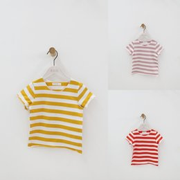 $enCountryForm.capitalKeyWord NZ - Summer Children T Shirt Casual Simple Baby Girls Boys Soft Cotton Tops Kid Toddler Short Sleeve Striped T-shirts Kids Clothing