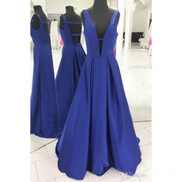 Sexy Apple Australia - 2019 Blue A Line Prom Dresses Deep V Neck Sleeveless Sexy Back Floor Length Prom Gowns Evening Dresses