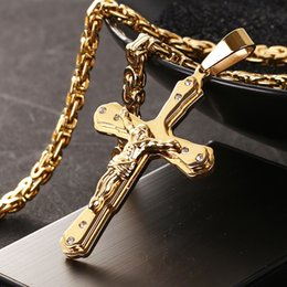 """Necklaces Pendants Australia - New Arrival Jesus Cross Crystal Pendant Necklace Link Byzantine Gold Color Stainless Steel Men Jewelry Collier 21.65"""" 6mm Mn81 Y19050901"""