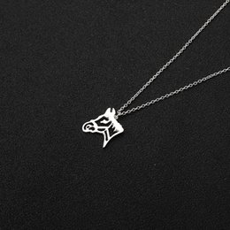 $enCountryForm.capitalKeyWord Australia - 10PCS Origami Horse Head Pendant Charm Necklace Outline Animal Unicorn Face Chain Necklaces for Equestrian Women Cowgirl Gifts