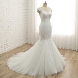 $enCountryForm.capitalKeyWord Australia - Elegant White Lace Appliques Mermaid Wedding Dresses Custom V Sheer Neck Cap Sleeves Bridal Dress Sweep Train Tulle Skirt Wedding Gowns