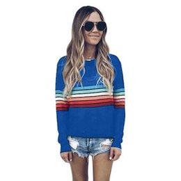 $enCountryForm.capitalKeyWord UK - Women's Color Block Stripe T-Shirt Rainbow O Neck Long Sleeve Basic Top Casual Tops Ladies Black White