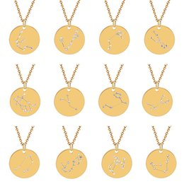 $enCountryForm.capitalKeyWord Australia - 12 Zodiac Constellations crystal Pendant Stainless Steel Coin Necklaces Choker Necklace Birthday Gift Personalized Crystal Leo Libra Women