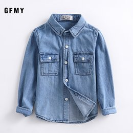discount shirts Australia - GFMY Brand 2019 Autumn Letters Casual Boys Denim Shirt Limited Time Discount, 50% off New Store 24M-10T Children's clothes