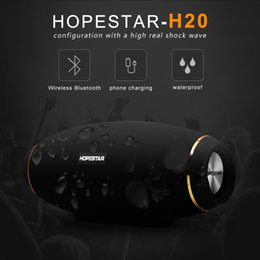 Wholesale Portable Usb Power Bank Australia - New HOPESTAR H20 Wireless portable Bluetooth 4.2 Speaker 30W Waterproof Outdoor Bass Effect with Power Bank USB AUX Mobile