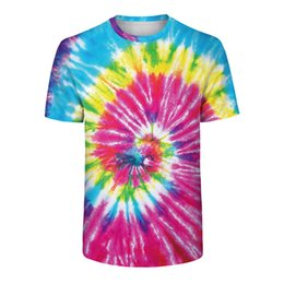 $enCountryForm.capitalKeyWord Australia - Harajuku Hip Hop T Shirt Hipster Tie Dye Tops Funny Colorful Streetwear Summer Couple T-Shirt Rainbow Surf Mens Workout Shirts