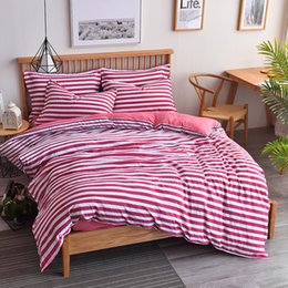 King duvet cover sets grey online shopping - 2018 Spring cotton bedding set Stripe style summer duvet cover set Pastoral grid bed linen navy stripe bedding grey sheet