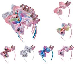 Inch Hair Ribbon Australia - 6 inch kids girls jojo bows unicorn Hair Sticks head cartoon printed headband Children ribbon hair accessories headwear Party supplies