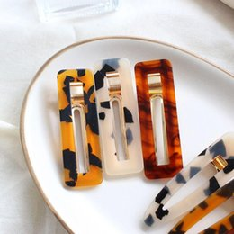 Vintage Style Hair Clips Australia - NEW Women Vintage Hair Accessorie Leopard Hair Clip Geometric Square Shape Hairpin Clips Styling Accessories