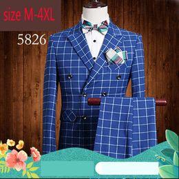 Rowing Suits Australia - 2019 New Arrival Fashion Man Slim Double Row Button Outerwear Groom Wedding Dress Men Checkered Suit Plus Size M L XL 2XL3XL4XL
