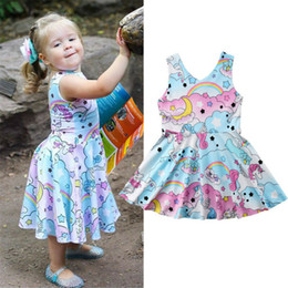 girls horse clothes UK - Loveliness Kids Baby Girls Horse Floral Party Pageant Dress Sundress Clothes Casual Dresses 2018 Hot Summer Cute Dress