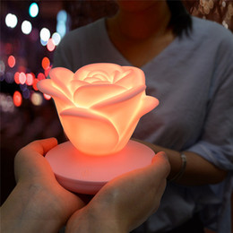 valentines table decorations Australia - Flower night lights USB charging Novelty Lighting Romantic Rose Night Light LED Touch Switch Table Lamp home decoration Valentines Day Gift